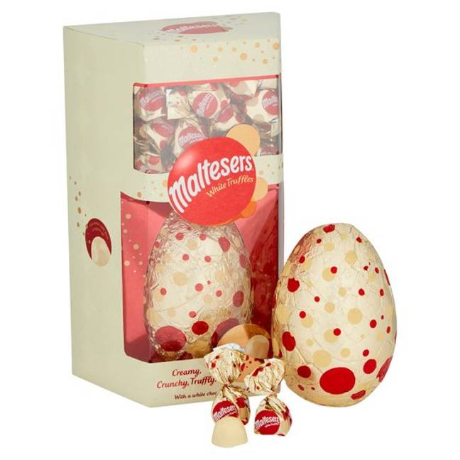 The egg also comes with a pack of white Maltesers truffles (Credit: Mars)