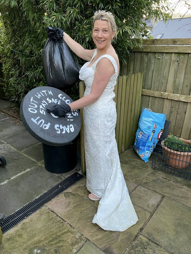 Binderella: another entrant donned her wedding dress to do the bins (Credit: SWNS)