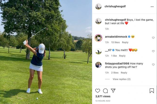 Chris Hughes playing golf with his new pro golfer girlfriend, Annabel Dimmock. (Credit: Instagram/@chrishughesgolf)