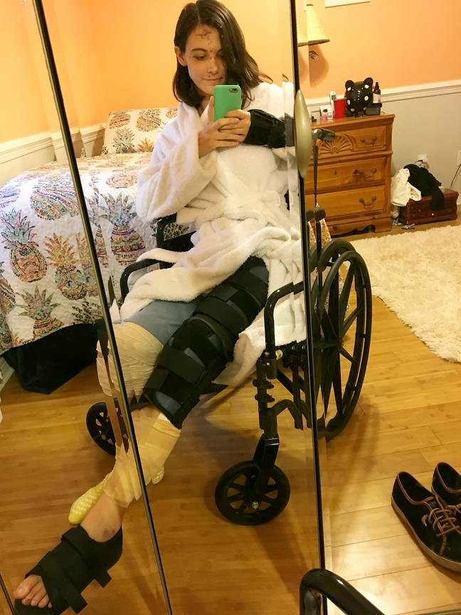 Megan is now recovering in a wheelchair, while she swears off drinking for life. (Credit: SWNS)