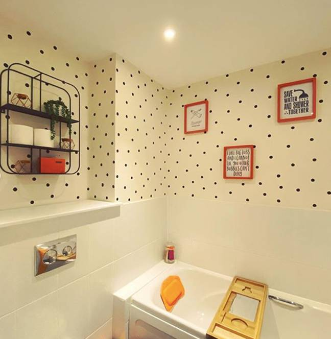 Jade loved the effect so much she opted to do her second bathroom with polka dots (Credit: Instagram/@twinkle_mcsprite)