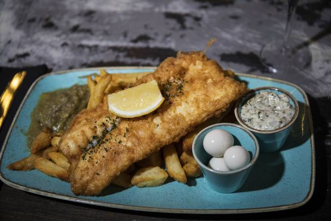 Fish and chips with a side of quail eggs preserved in champagne, anyone? (Credit: SWNS)