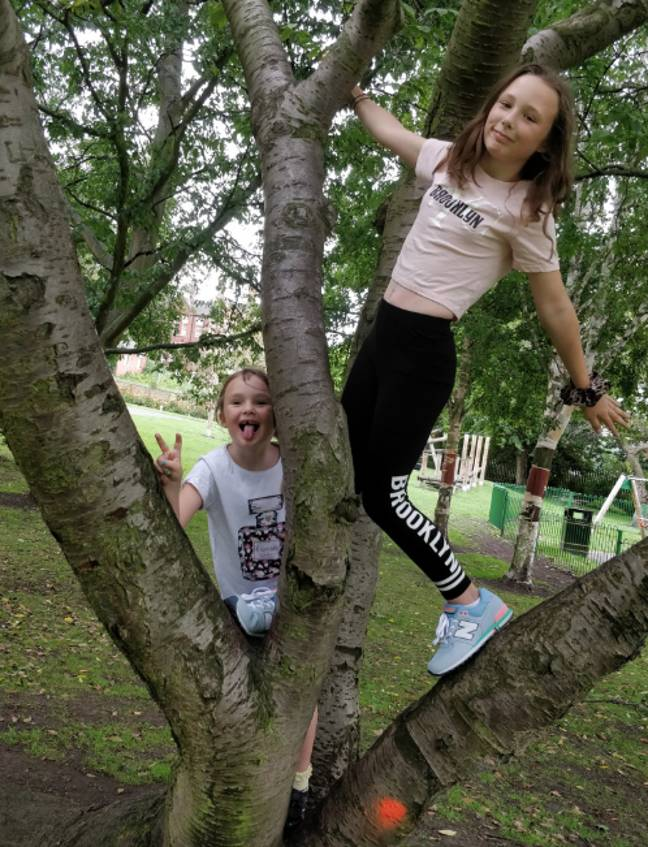Rachael took her daughters to the park for their first meet in seven weeks (Credit: Rachael Webb)