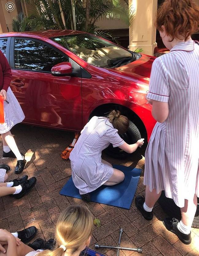 Lessons include how to change a tyre (Credit: Facebook/Stella Maris College)