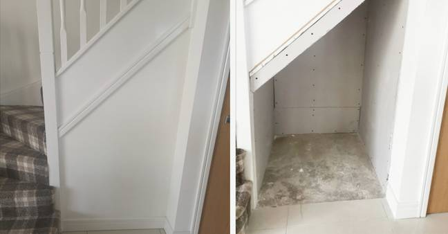 She removed the plasterboard under the stairs (Credit: Caters)