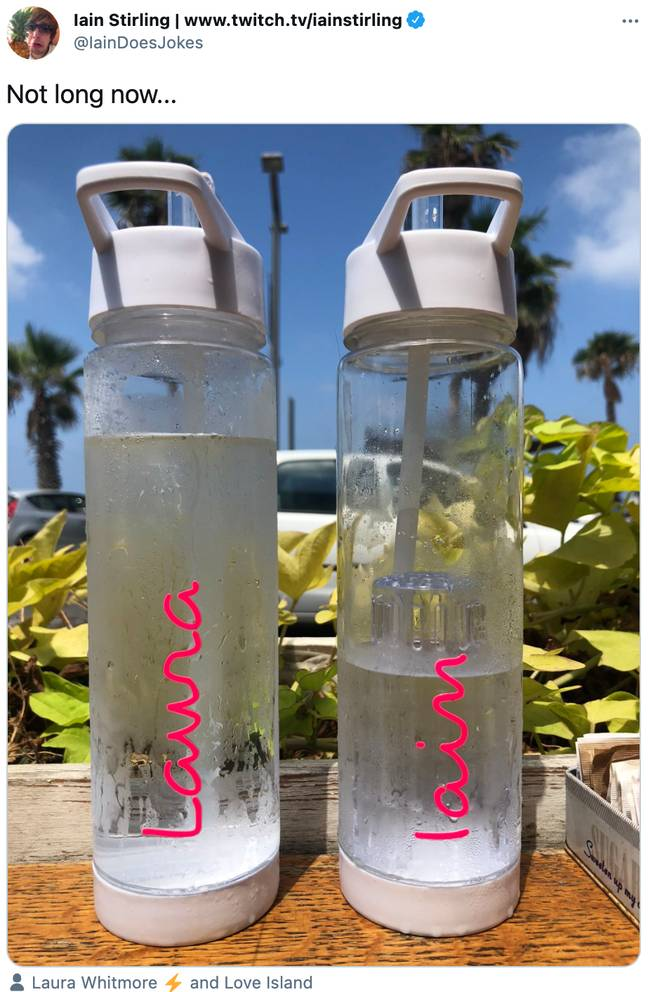 Narrator Iain Stirling teased the new series on Tuesday by posting a side-by-side shot of his and Laura Whitmore's Love Island water bottles (Credit: Iain Stirling/Twitter)