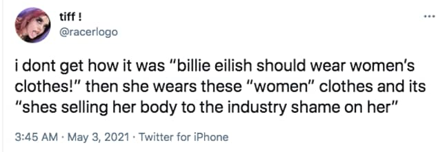 Billie Eilish explained why she has control over her appearance (Credit: Twitter)