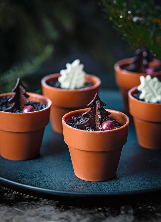 Christmas tree chocolate pots, £8 for four. Credit: Tesco