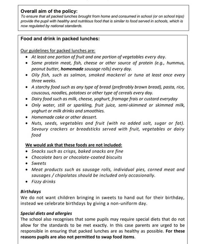 Robin's school sent out the list of lunchbox requirements to parents (Credit: Caters)