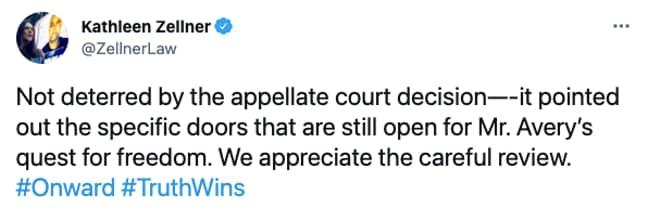 Kathleen Zellner updates Steven Avery's fans on 28th July 2021 (Credit: Twitter)