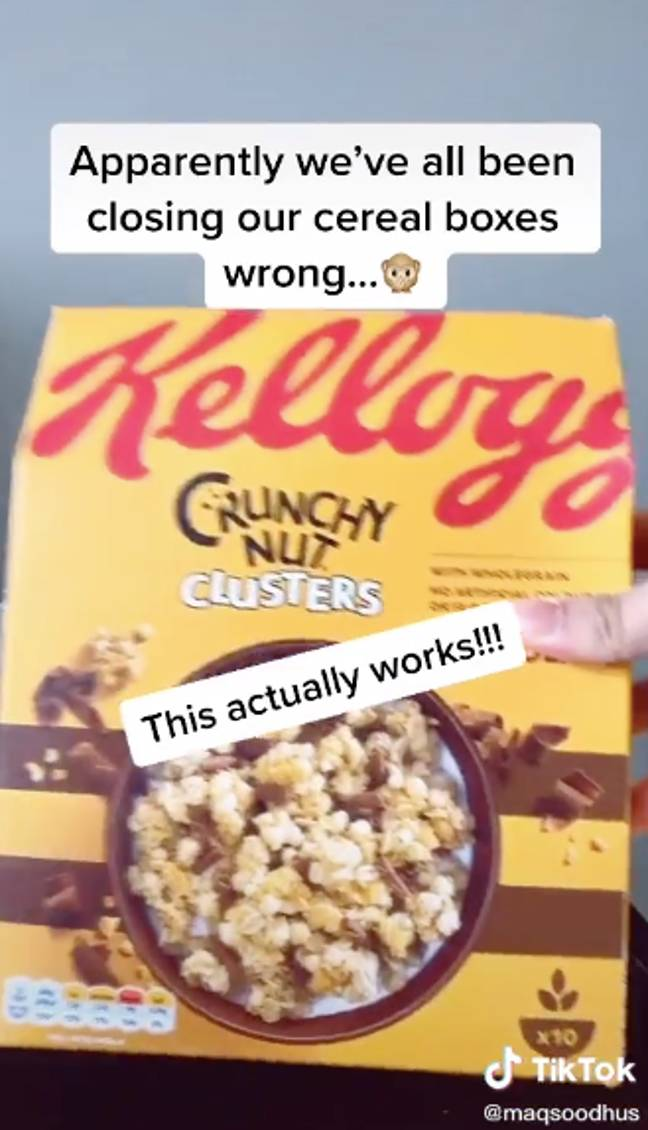 We've been closing our cereal boxes the wrong way this whole time (Credit: TikTok/@maqsoodhus)