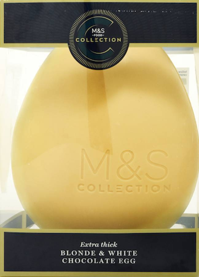 The 'blonde and white chocolate' egg is made of an extra thick white shell (Credit: Marks and Spencer)