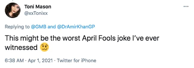 Viewers instantly knew it was a prank (Credit: Twitter)