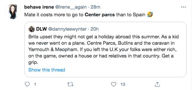 This tweet caused a debate about Center Parcs' pricing (Credit: Twitter)