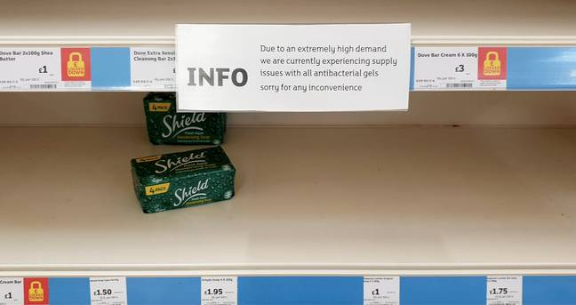 It's been almost impossible to get hold of certain items, like soap and toilet roll (Credit: PA)