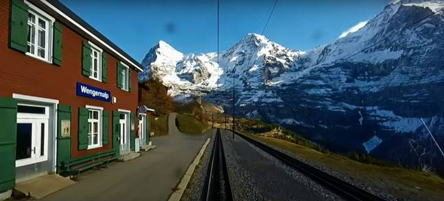 In Switzerland, the modern electric Wengernalp Railway travels from Lauterbrunnen on a stunning trip to Kleine Scheidegg (Credit: YouTube)