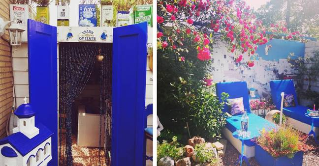We love this blue-painted oasis complete with old olive oil cans used as plant pots - genius! (Credit: Instagram / @_risqgay_)