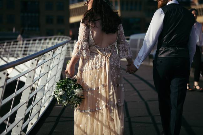 In the end, Emmie cut out the back of her dress and tied it with a bow (Credit: Forget Me Knot Images)