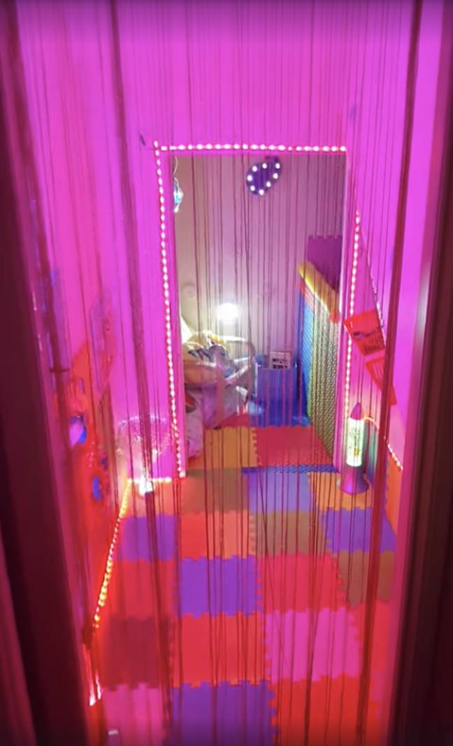 CJ's new sensory room, complete with LED lights, foam walls and a ball pit. (Credit: Ashleigh Dunkley)