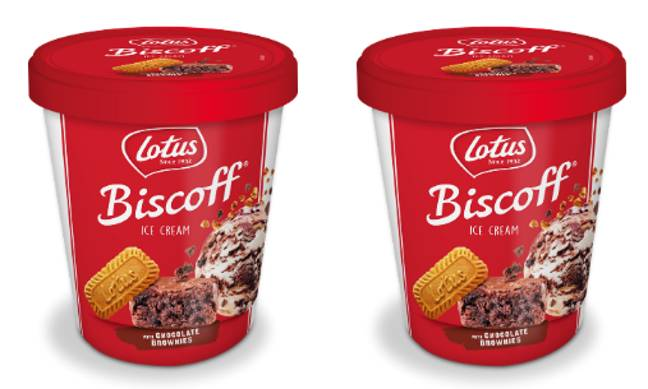 B&M is selling a Lotus Biscoff ice cream and it's packed with mouthwatering chocolate brownie (Credit: Lotus Biscoff)