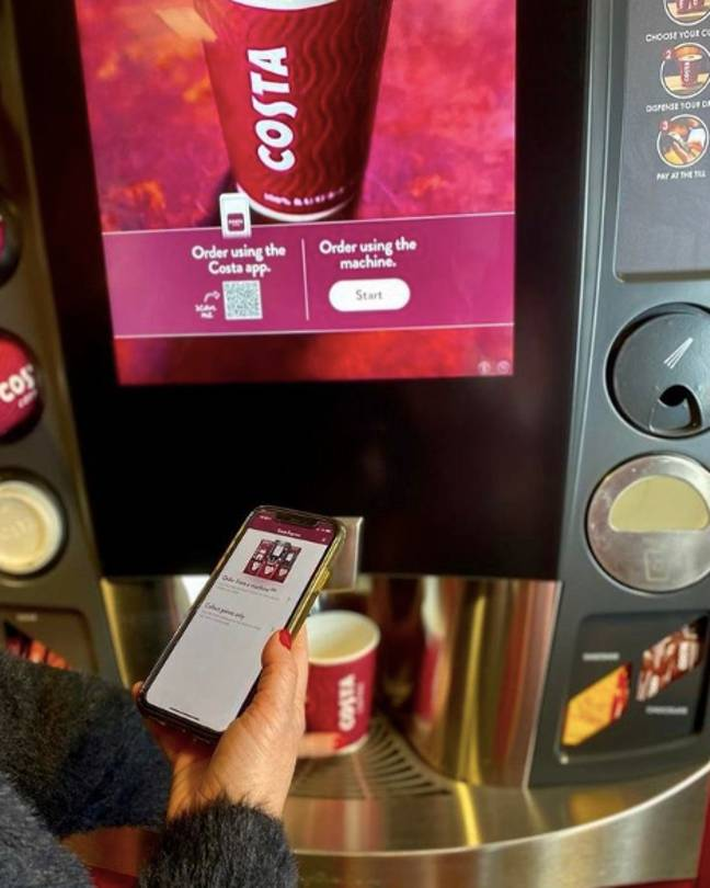 Costa is treating app users to an extra 300 points - worth £3 - when they buy a drink from an express machine (Credit: Instagram/Costa Coffee)