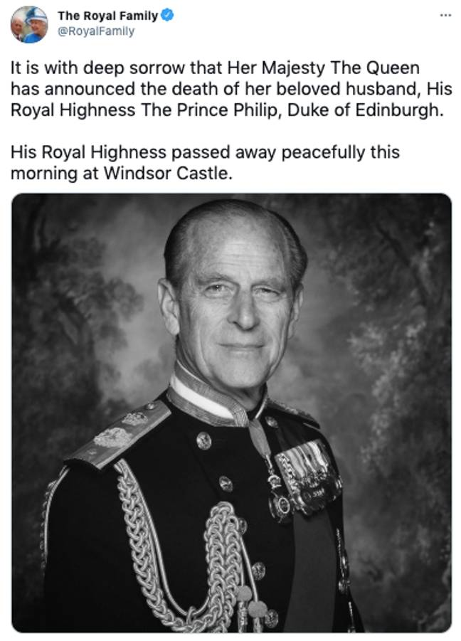 The Duke of Edinburgh has died at the age of 99, the Queen has announced (Credit: The Royal Family/Twitter)