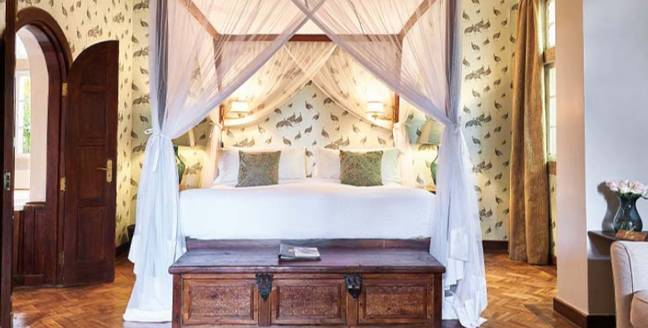 There are 12 bedrooms to choose from (Credit: Giraffe Manor)