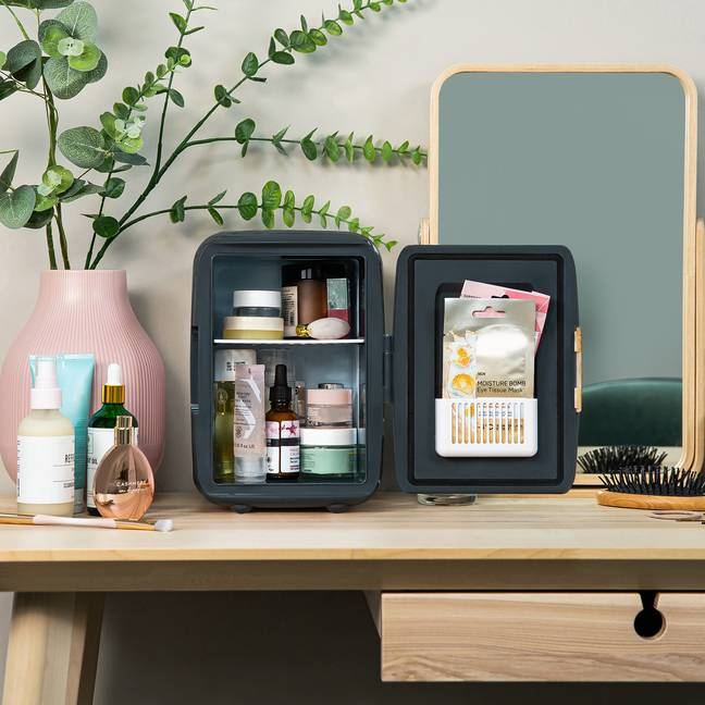 The mini-fridge is perfect for storing your make-up (Credit: Russell Hobbs)