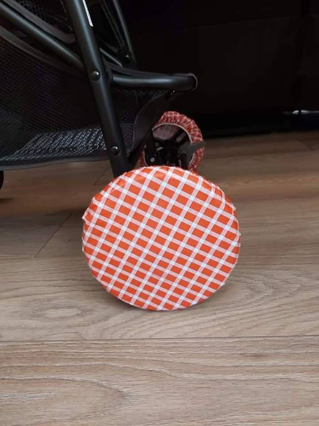 The crafty mum also suggested using food bowl covers for prams with smaller wheels (Credit: Laura Outhart)
