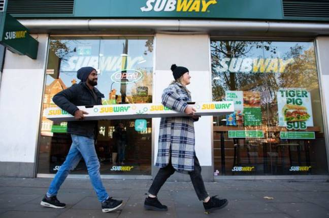 The six-foot long sub is made up of 36 pigs in blankets (Credit: Subway)