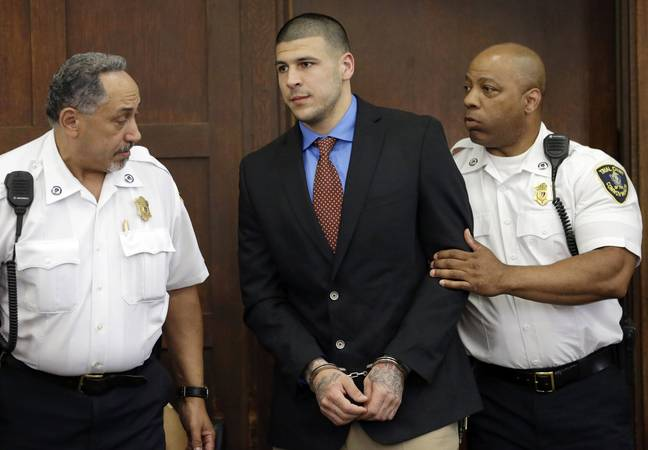 Aaron Hernandez was an NFL player for New England Patriots before he was charged with murder (Credit: PA)