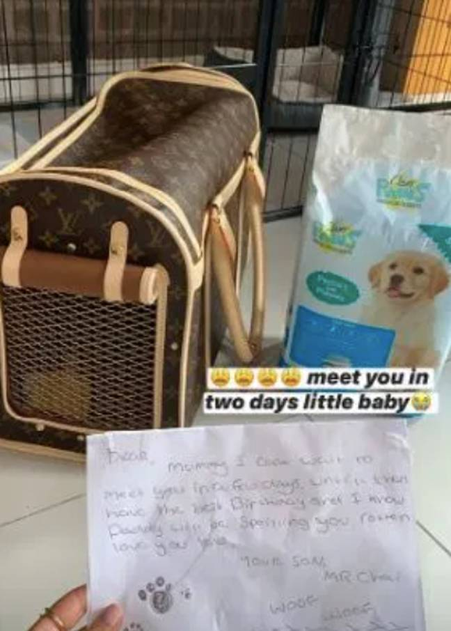 The reality star bought his loved one a puppy and hand-wrote her a note from the pooch (Credit: Instagram / @mollymaehague)