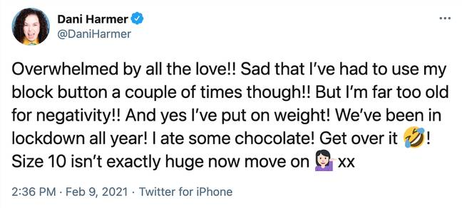 Dani Harmer responded to the trolls on Tuesday on Twitter (Credit: Twitter)