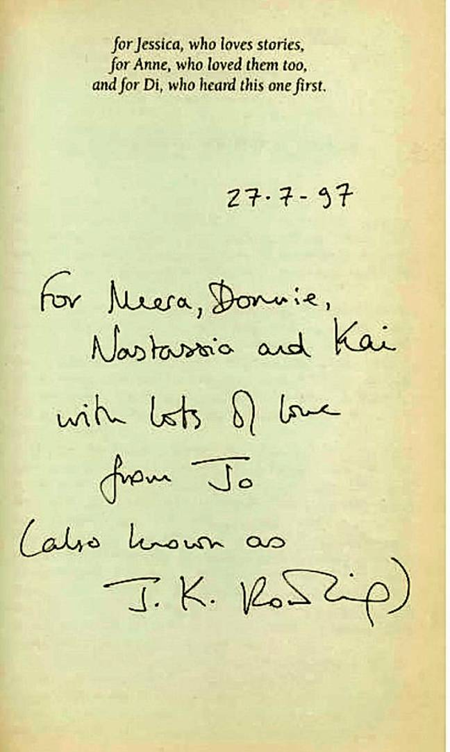 The book includes a personal note from J.K. Rowling. Credit: SWNS