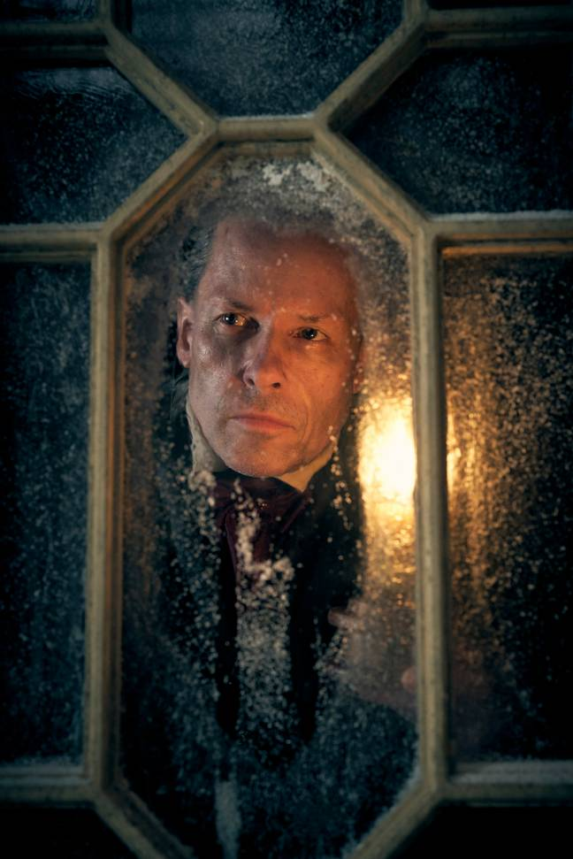 Guy Pearce is transformed for the role of miserly Scrooge (Credit: BBC)