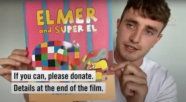 Paul read David McKee 'Elmer and Super El', a tale of the friendship between two elephants (Credit: Paul Mescal / Instagram)
