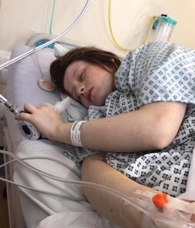 Her stomach pains ended up being contractions (Credit: Caters)