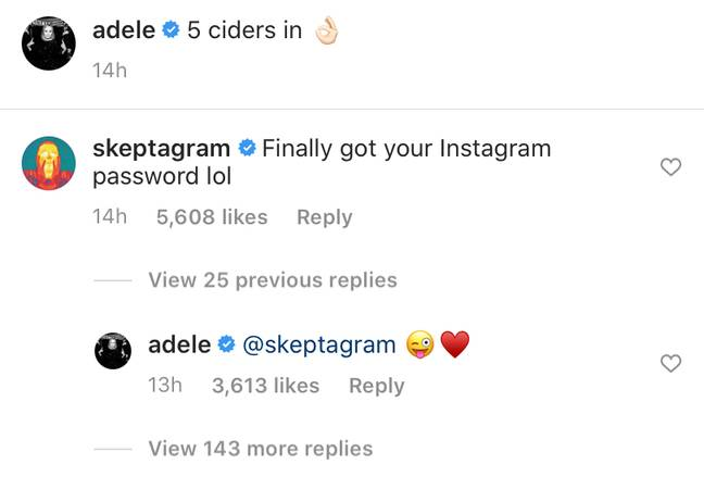 Skepta commented on Adele's throwback post (Credit: Adele/Instagram)