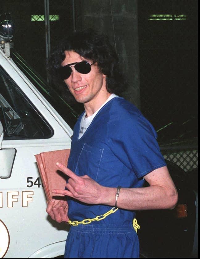 Richard Ramirez in 1989 after hearing his verdict in court (Credit: Shutterstock)