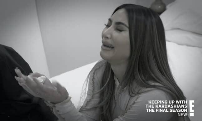 Kim broke down in tears over Kanye living in Wyoming in the penultimate episode (Credit: E!)