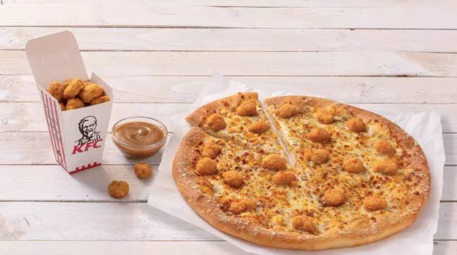 The limited edition pizza saw everyone's fave KFC snack topped on a pizza (Credit: KFC)