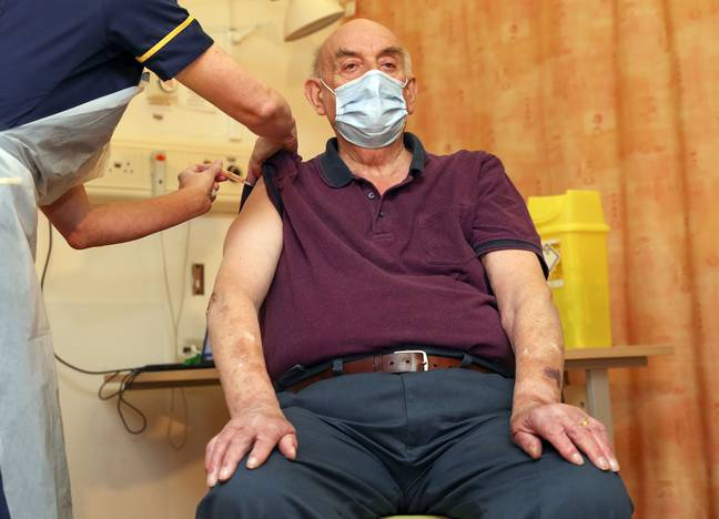 The 82-year-old received the jab this morning (Credit: PA)