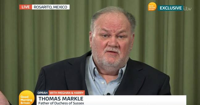 Thomas Markle discussed his daughter Meghan and her marriage to Prince Harry on Tuesday (Credit: ITV)