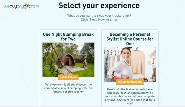 You're then offered to select an experience (Credit: Buyagift)