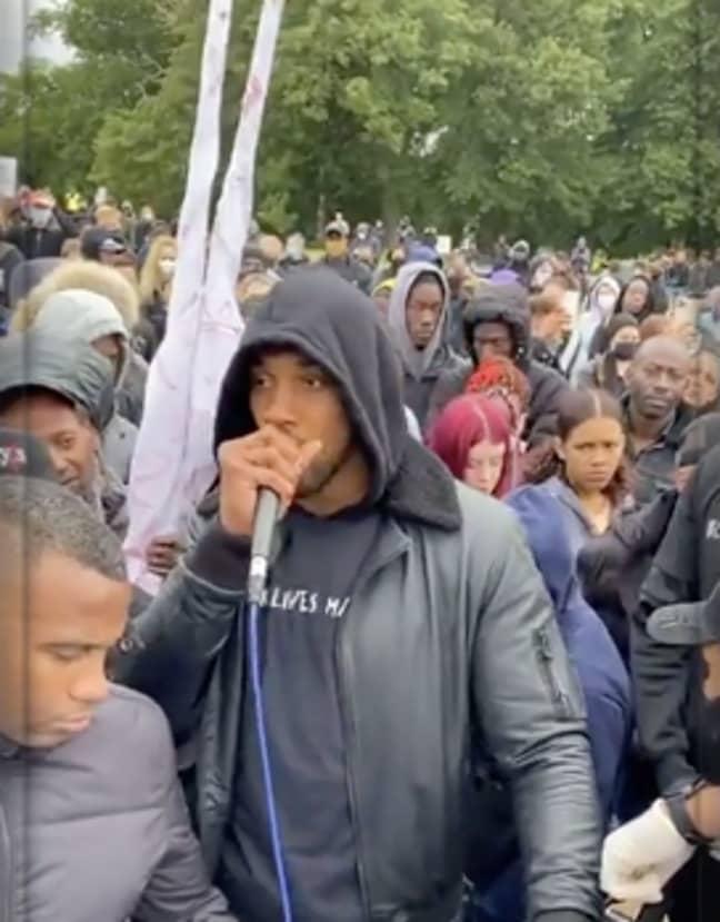 Anthony Joshua spoke at a protest in Watford (Credit: Instagram/ Anthony Joshua)