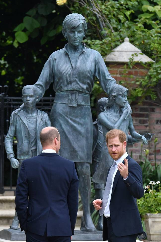 The statue pictures Princess Diana with three children (Credit: PA)