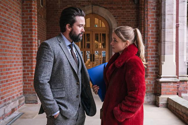 The thriller follows student Ophelia (Emily Reid) who has an affair with her university tutor Michael (Emmett J. Scanlan) (Credit: Channel 5)