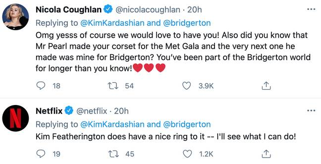 Nicola and the official Netflix Twitter account responded after Kim revealed she wants to visit the Bridgerton set for a fitting (Credit: Twitter)