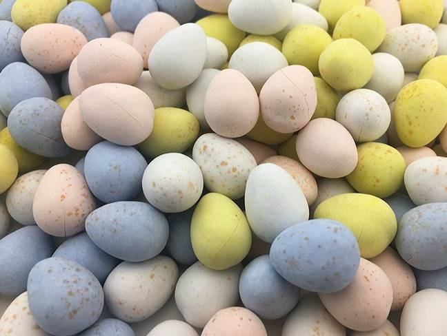 The style combines pastel tones of shell pink, powder blue and sherbet yellow, just like a Mini Egg selection.