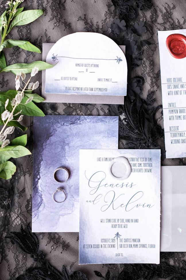 The invites were stunning Tim Burton inspired designs (Credit: Angela Vallejo Photography)